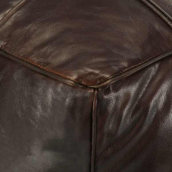 vidaXL Fotoliu puf, maro închis, 60x60x30 cm, piele naturală de capră