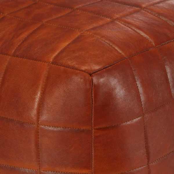 vidaXL Fotoliu puf, arămiu, 40 x 40 x 40 cm, piele naturală de capră