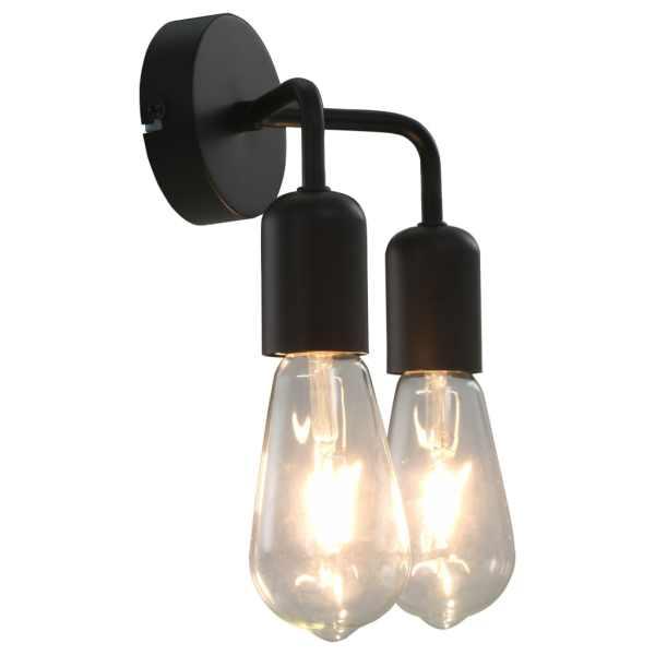 vidaXL Lampă de perete cu becuri cu filament, 2 W, negru, E27