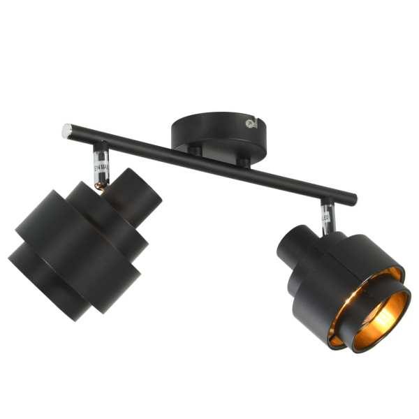 vidaXL Spoturi luminoase cu 2 direcții, negru, E14