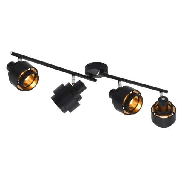 vidaXL Spoturi luminoase cu 4 direcții, negru, E14