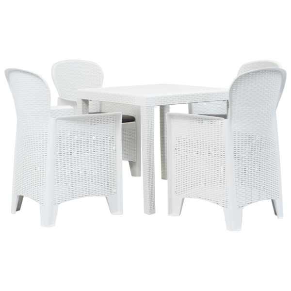 vidaXL Set mobilier exterior, 5 piese, alb, plastic, aspect ratan