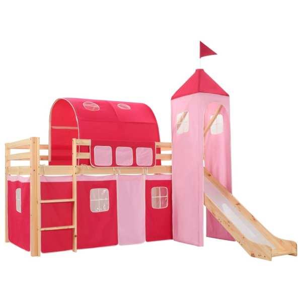 vidaXL Cadru pat etajat copii cu tobogan & scară 208×230 cm lemn pin