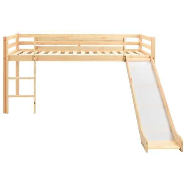 Cadru pat copii etajat cu tobogan & scară 97x208cm lemn de pin