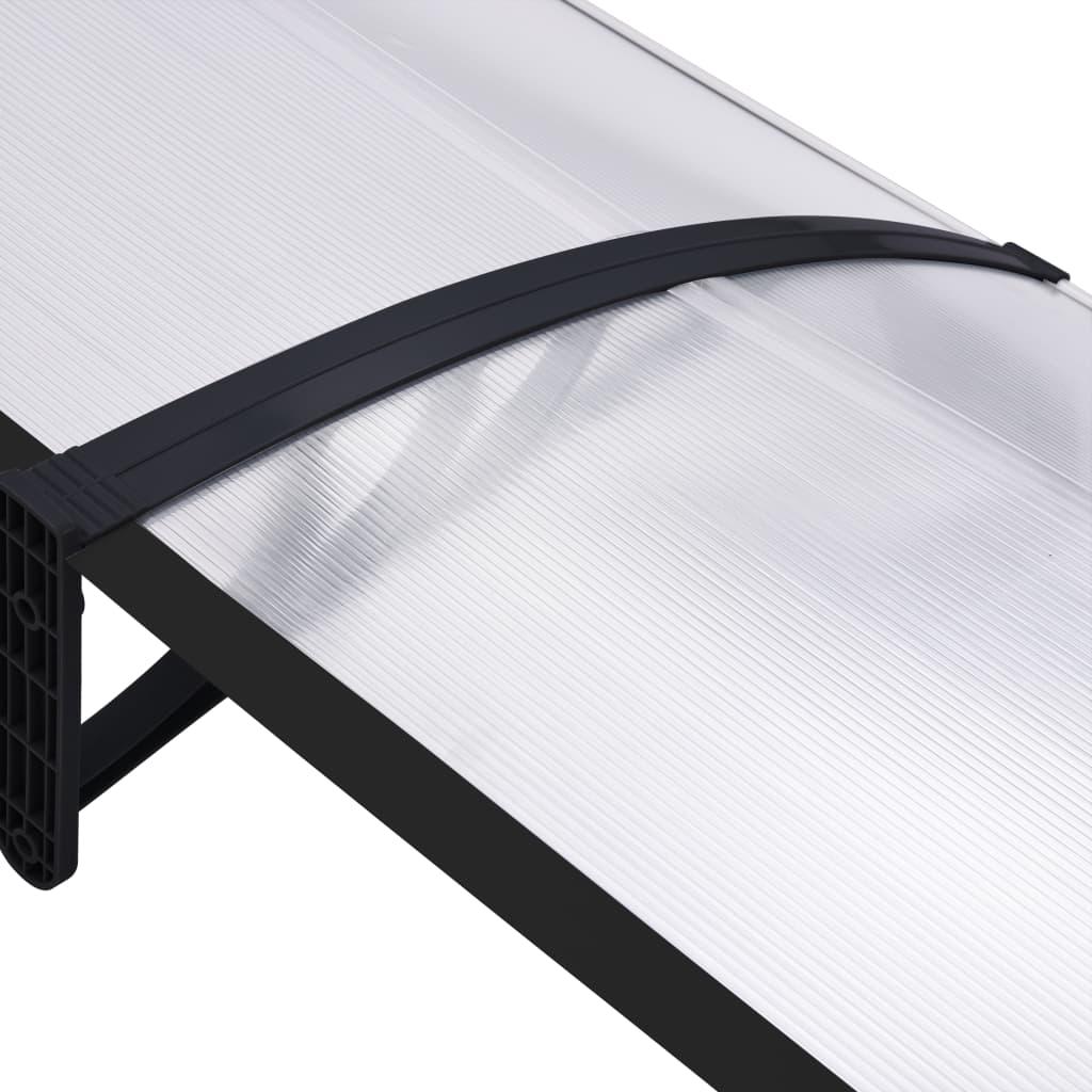 Copertină de ușă, negru și transparent, 240 x 80 cm, PC