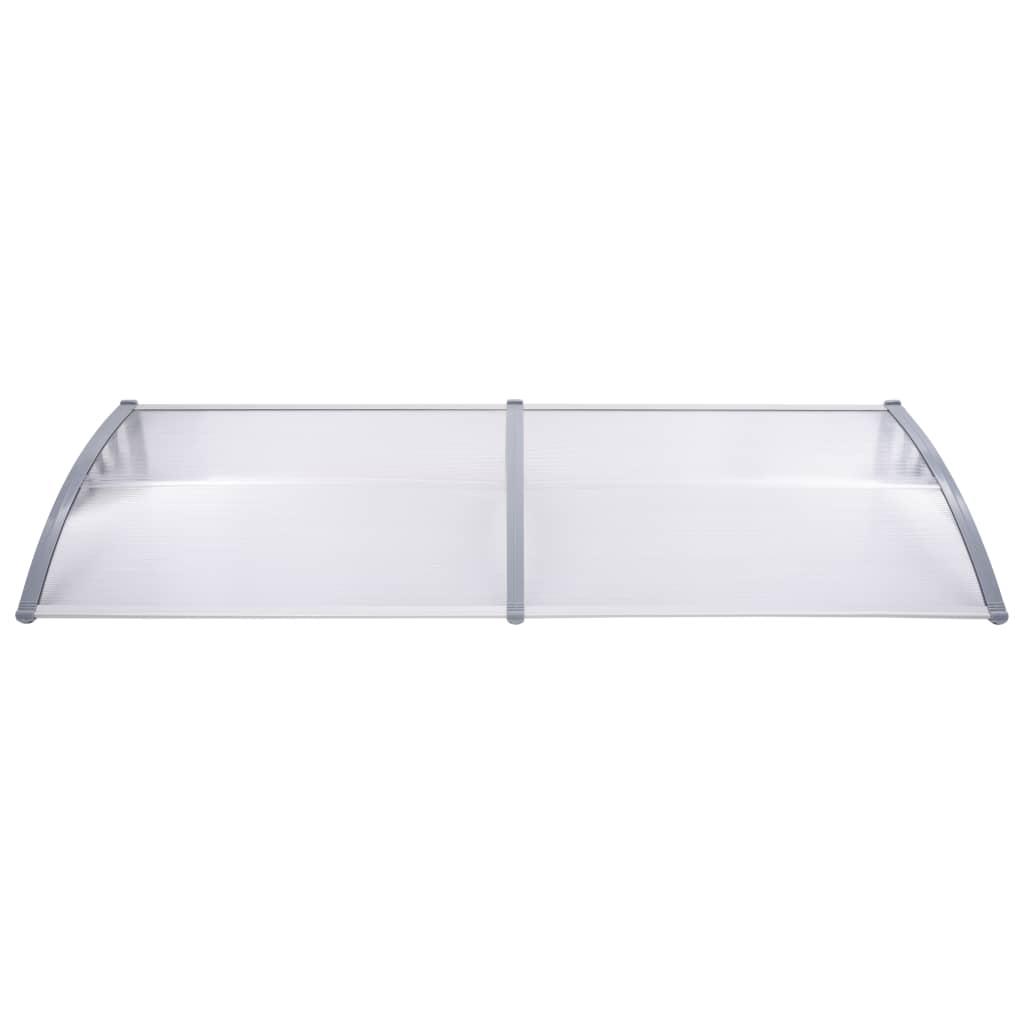 Copertină de ușă, gri și transparent, 240 x 80 cm, PC