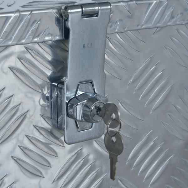 Ladă din aluminiu, 610 x 430 x 455 cm, argintiu