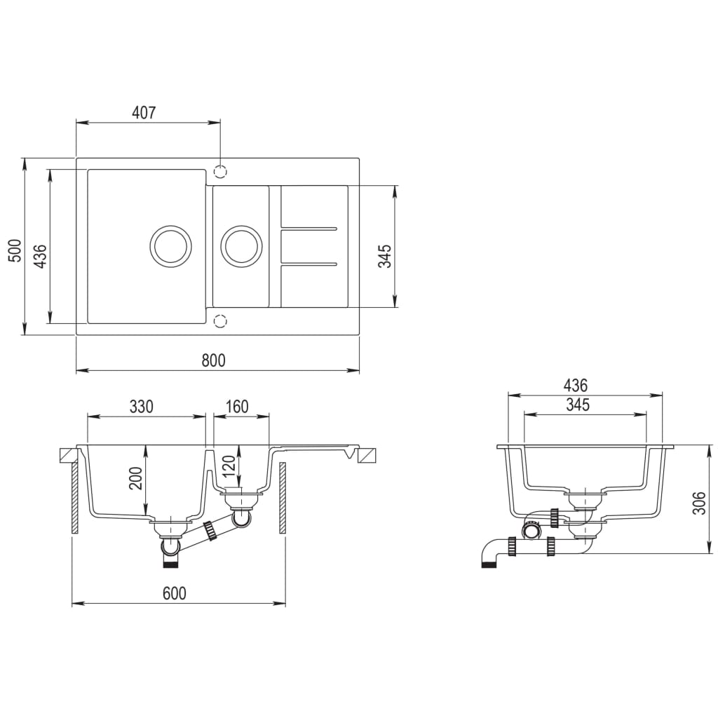 vidaXL Chiuvetă de bucătărie din granit, alb, două bazine