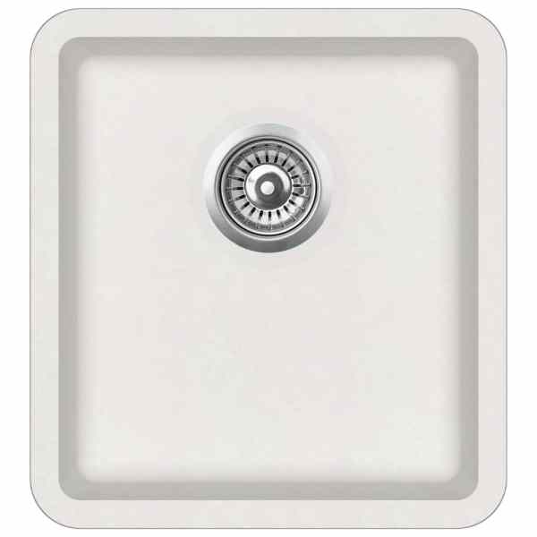 vidaXL Chiuvetă de bucătărie din granit, alb, bazin unic