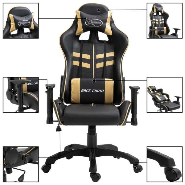 Scaun pentru jocuri, auriu, piele ecologică