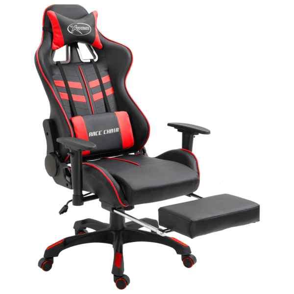 Scaun pentru jocuri cu suport picioare, roșu, piele ecologică