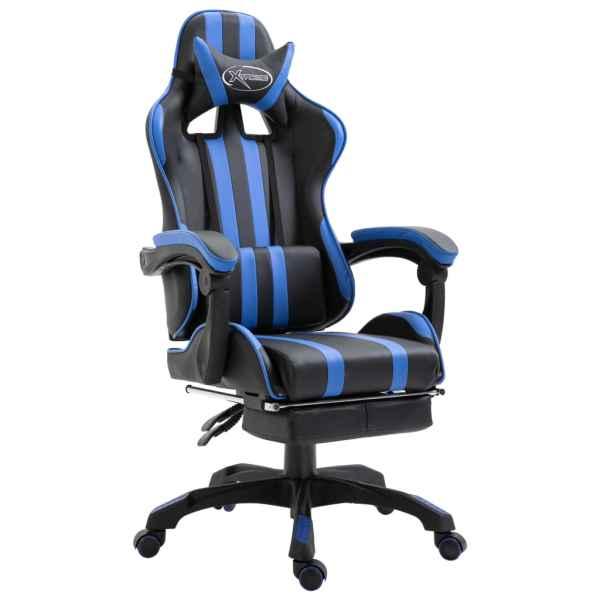 vidaXL Scaun jocuri cu suport picioare, albastru, piele ecologică