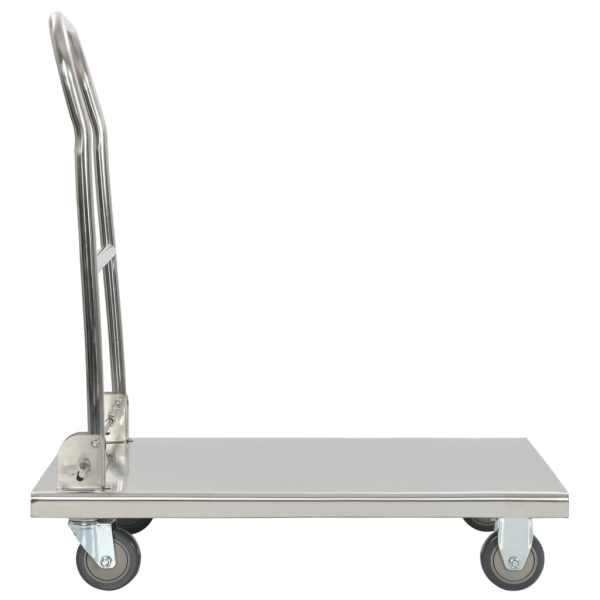 Cărucior platformă, argintiu, 82 x 53 x 86 cm, oțel inoxidabil