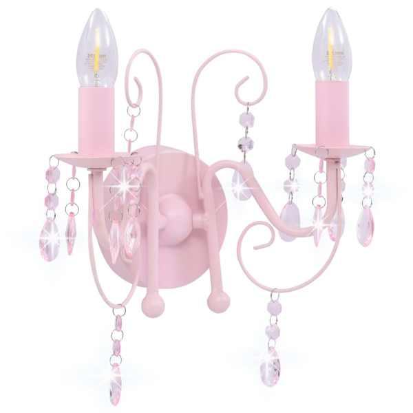 Lampă de perete cu mărgele, roz, 2 becuri x E14