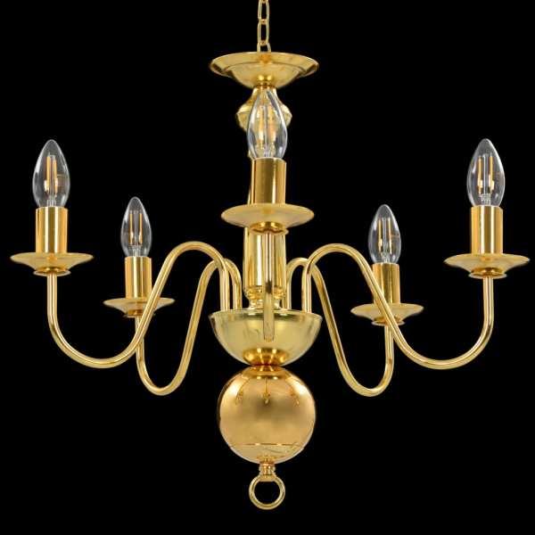 vidaXL Candelabru, auriu, 5 becuri E14