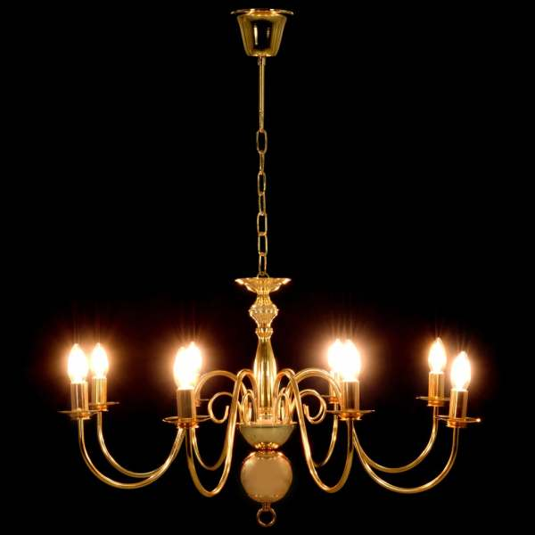 vidaXL Candelabru, auriu, 8 becuri E14