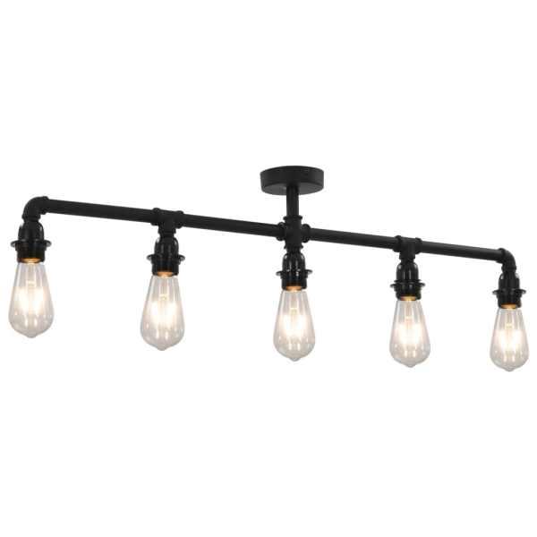 vidaXL Lampă de tavan, negru, 5 becuri x E27