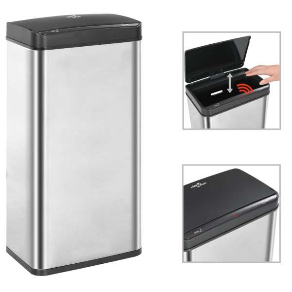 vidaXL Coș de gunoi senzor automat argintiu&negru 80 L oțel inoxidabil