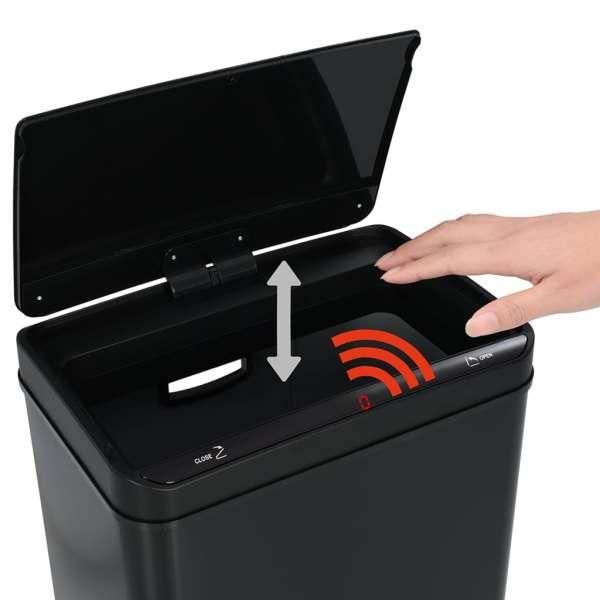 vidaXL Coș de gunoi cu senzor automat, negru, 80 L, oțel