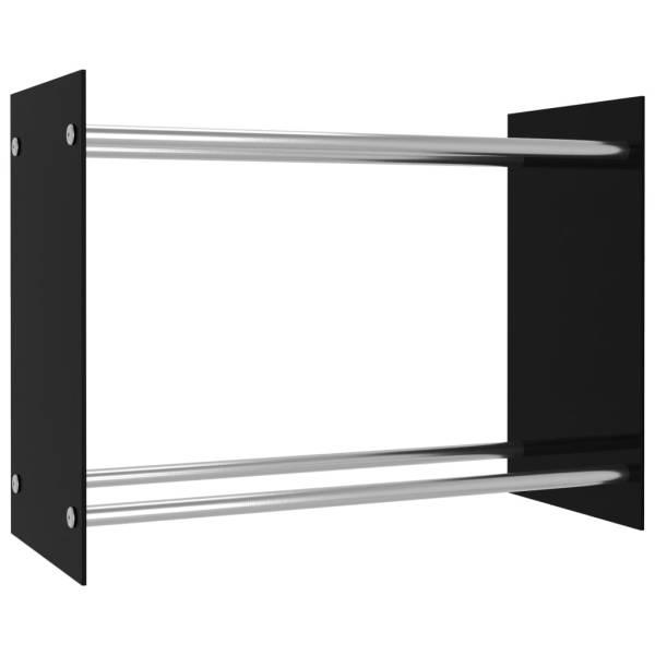 Rastel lemne de foc, negru, 80 x 35 x 60 cm, sticlă