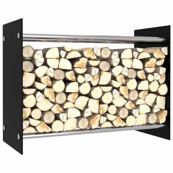 vidaXL Rastel lemne de foc, negru, 80 x 35 x 60 cm, sticlă