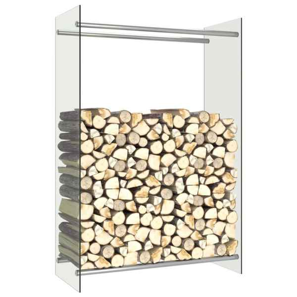 vidaXL Rastel lemne de foc, transparent, 80 x 35 x 120 cm, sticlă