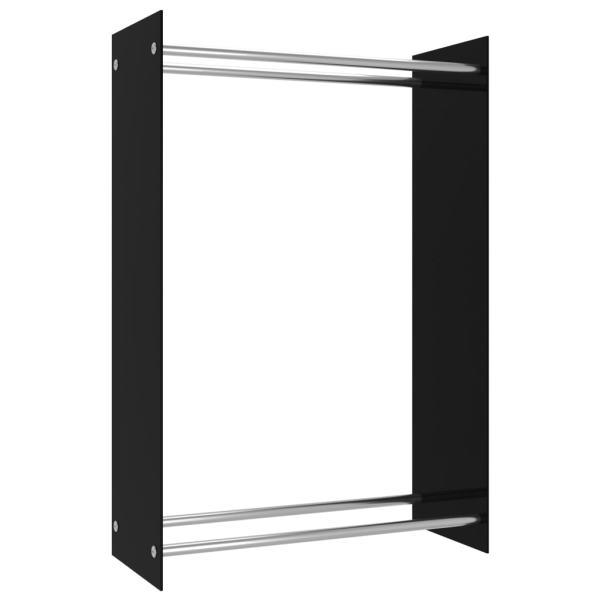 vidaXL Rastel lemne de foc, negru, 80 x 35 x 120 cm, sticlă