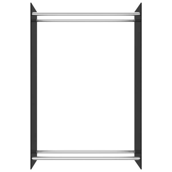 Rastel lemne de foc, negru, 80 x 35 x 120 cm, sticlă