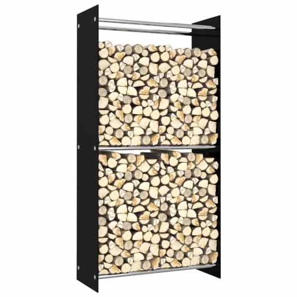 vidaXL Rastel lemne de foc, negru, 80 x 35 x 160 cm, sticlă
