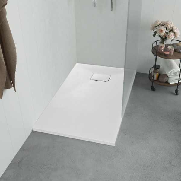 vidaXL Cădiță de duș, alb, 100 x 70 cm, SMC
