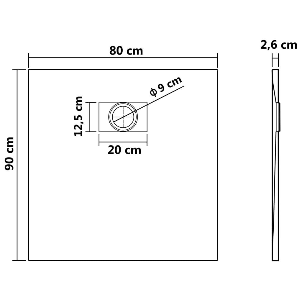 vidaXL Cădiță de duș, negru, 90 x 80 cm, SMC