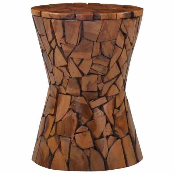 vidaXL Taburet mozaic, maro, lemn masiv de tec