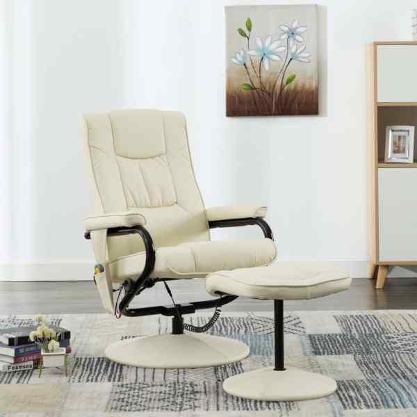 vidaXL Fotoliu de masaj cu taburet, crem, piele ecologică