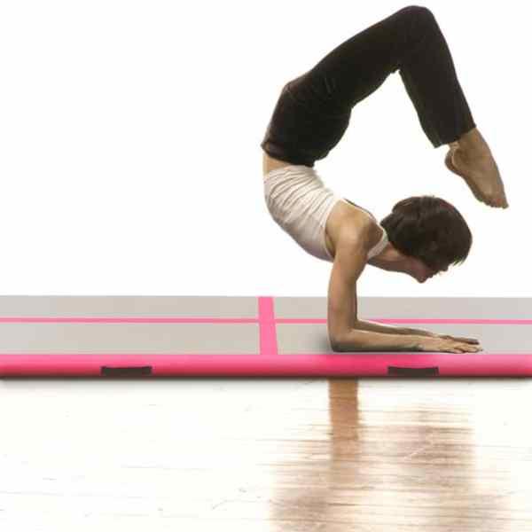 vidaXL Saltea gimnastică gonflabilă cu pompă roz 300x100x10cm PVC