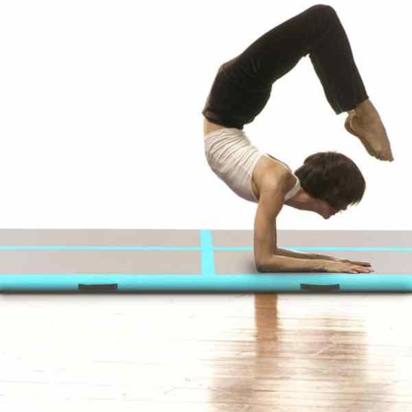 vidaXL Saltea gimnastică gonflabilă cu pompă verde 400x100x10cm PVC