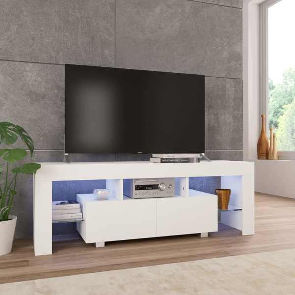 vidaXL Comodă TV cu lumini LED, alb extralucios, 130x35x45 cm