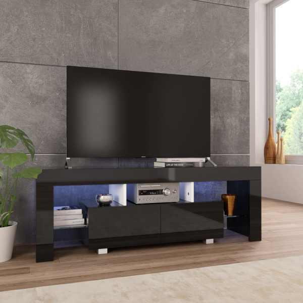 vidaXL Comodă TV cu lumini LED, negru extralucios, 130x35x45 cm