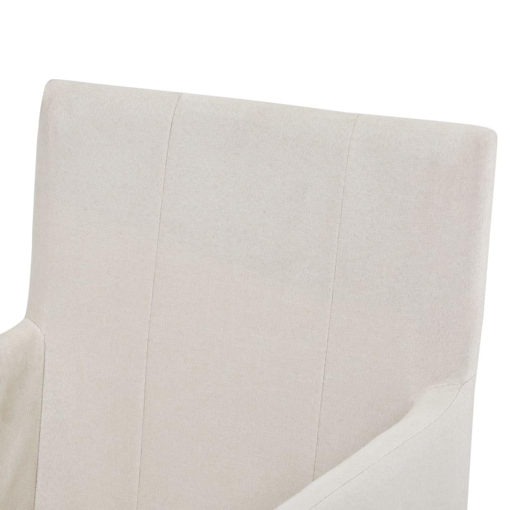 vidaXL Scaune de bucătărie cu brațe, 2 buc., crem, material textil