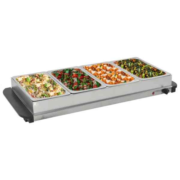 vidaXL Încălzitor de servire bufet, 400 W, 4 X 2,5 L, oțel inoxidabil