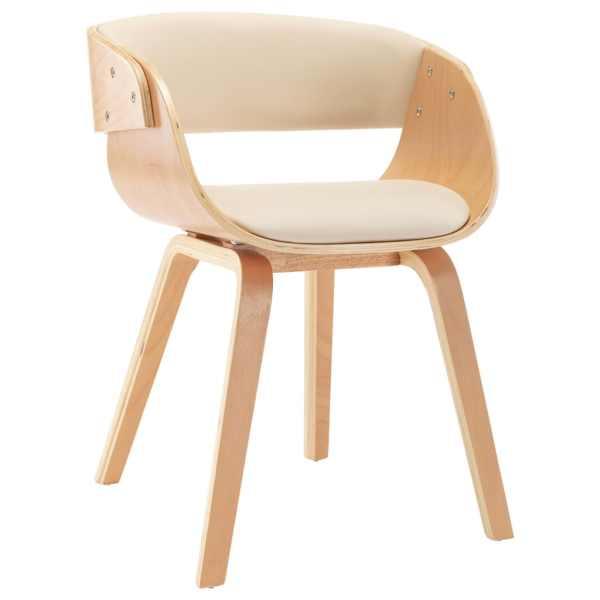 Scaun de bucătărie, crem, lemn curbat și piele ecologică