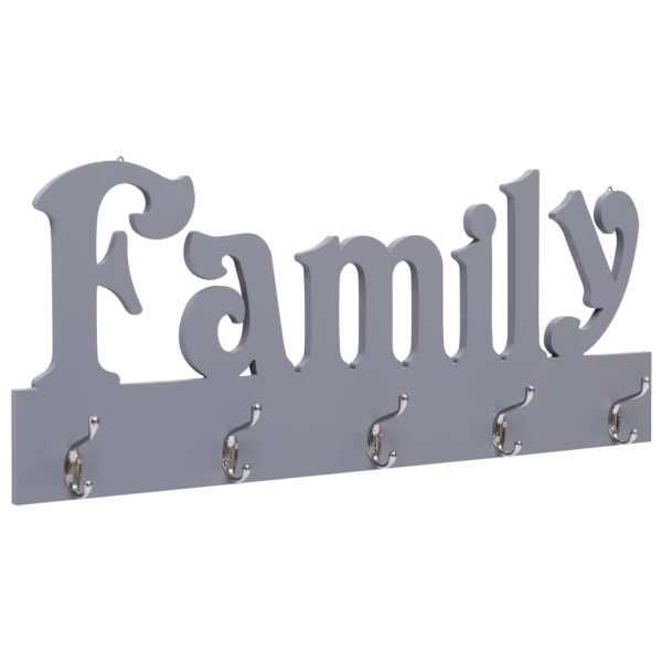 vidaXL Cuier de perete FAMILY, gri, 74 x 29,5 cm