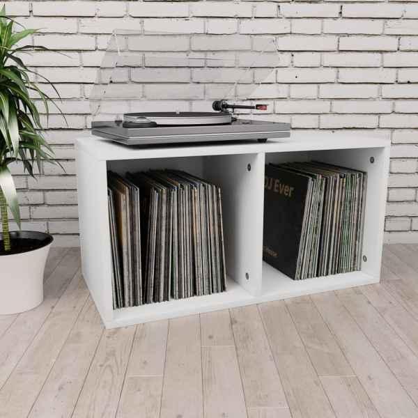 vidaXL Cutie pentru depozitare vinyl-uri, alb, 71 x 34 x 36 cm, PAL