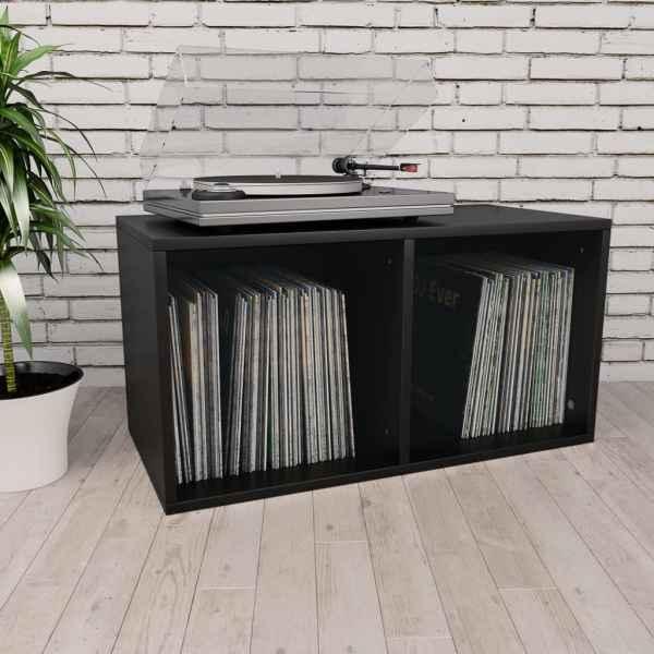 vidaXL Cutie de depozitare vinyl-uri, negru, 71 x 34 x 36 cm, PAL