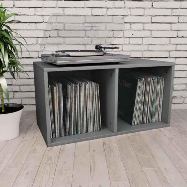 vidaXL Cutie de depozitare vinyl-uri, gri, 71 x 34 x 36 cm, PAL