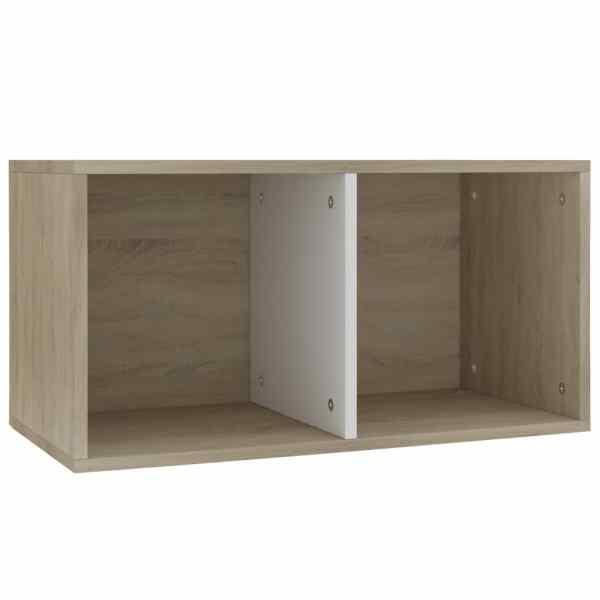 vidaXL Cutie depozitare vinyl-uri, alb/stejar Sonoma, 71x34x36 cm, PAL