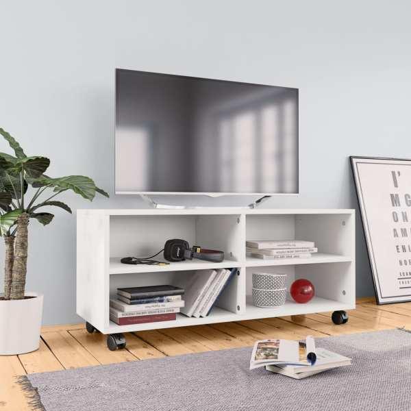 vidaXL Comodă TV cu rotile, alb, 90x35x35, PAL