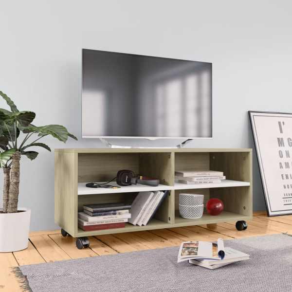 vidaXL Comodă TV cu rotile, alb & stejar Sonoma, 90x35x35, PAL