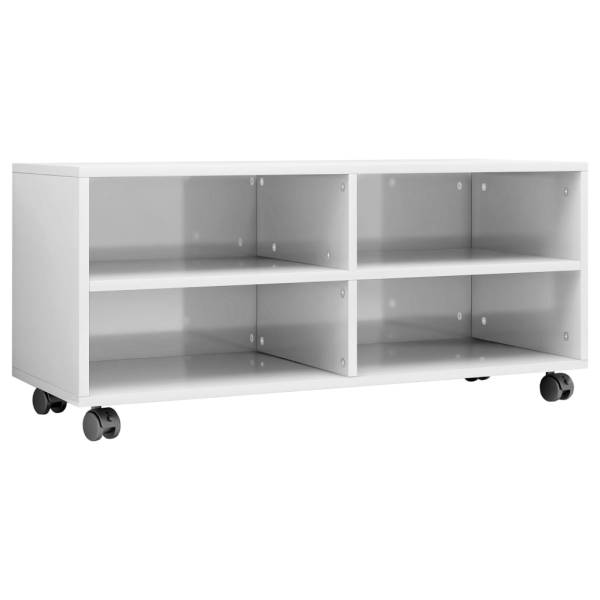 Comodă TV cu rotile, alb extralucios, 90x35x35, PAL