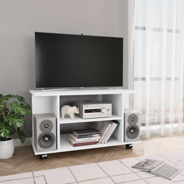 vidaXL Comodă TV cu rotile, alb, 80 x 40 x 40 cm, PAL