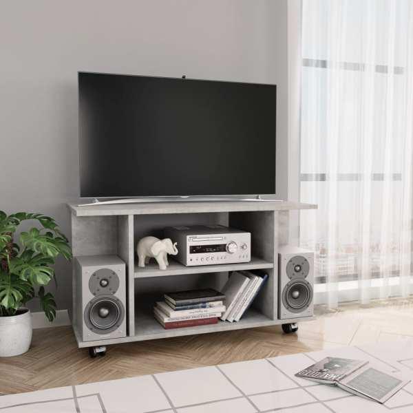 vidaXL Comodă TV cu rotile, gri beton, 80 x 40 x 40 cm, PAL